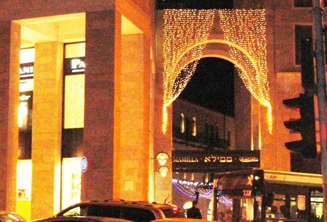 Mamilla Mall lit at night image, mall at night