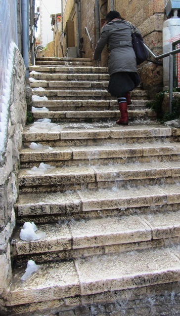 water on steps