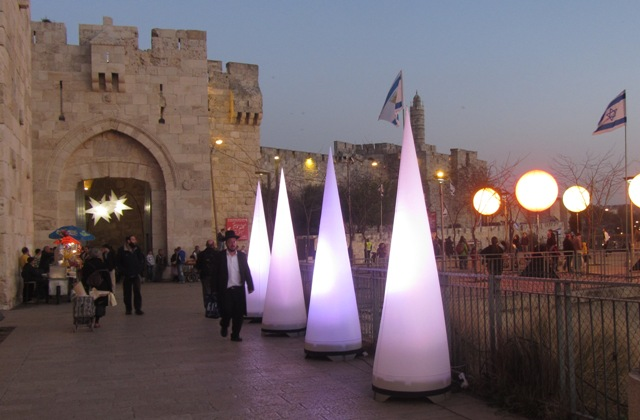 """picture of Jaffa Gate"", ""lights"" , ""sundown photo"""