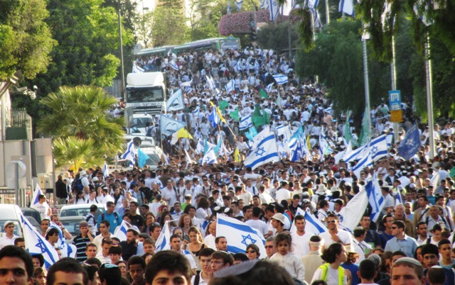 """photo flag parade"",""Image crowd flag parade"",""Picture Jerusalem"""