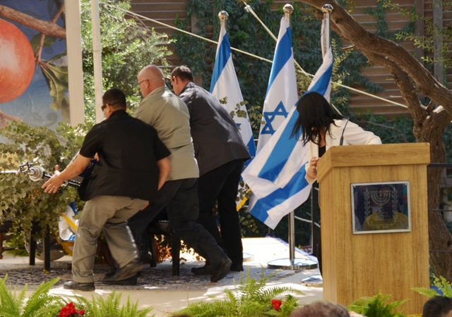 President Shimon Peres near miss