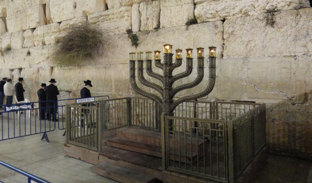 Haunkiah at Kotel, Menorah at western Wall , Wailing Wall