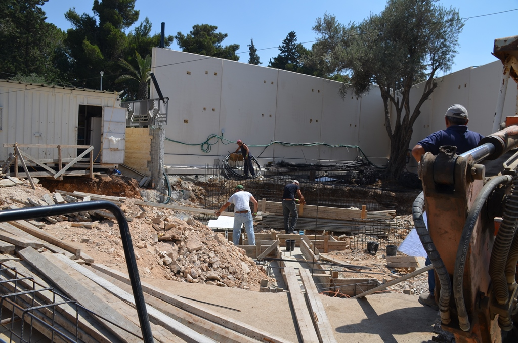 construction site at Israeli President House new entrance