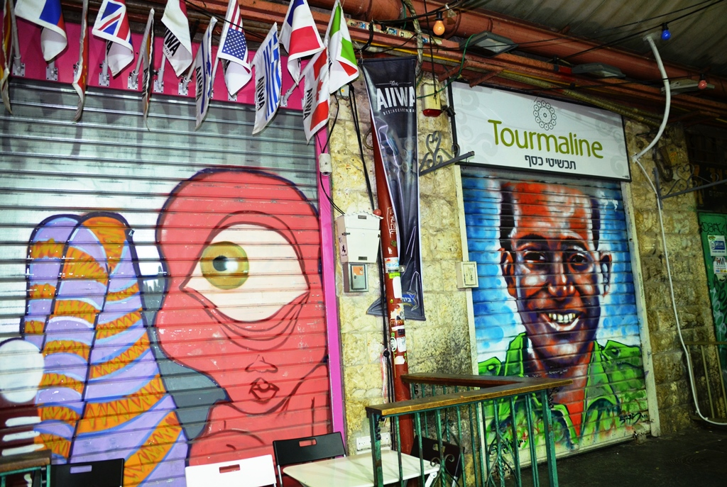 Art on closed shutters in Machane Yehuda market