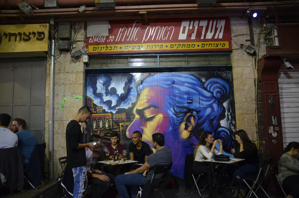 Soloman Sousa painting of Matisyahu in Machane Yehuda Market