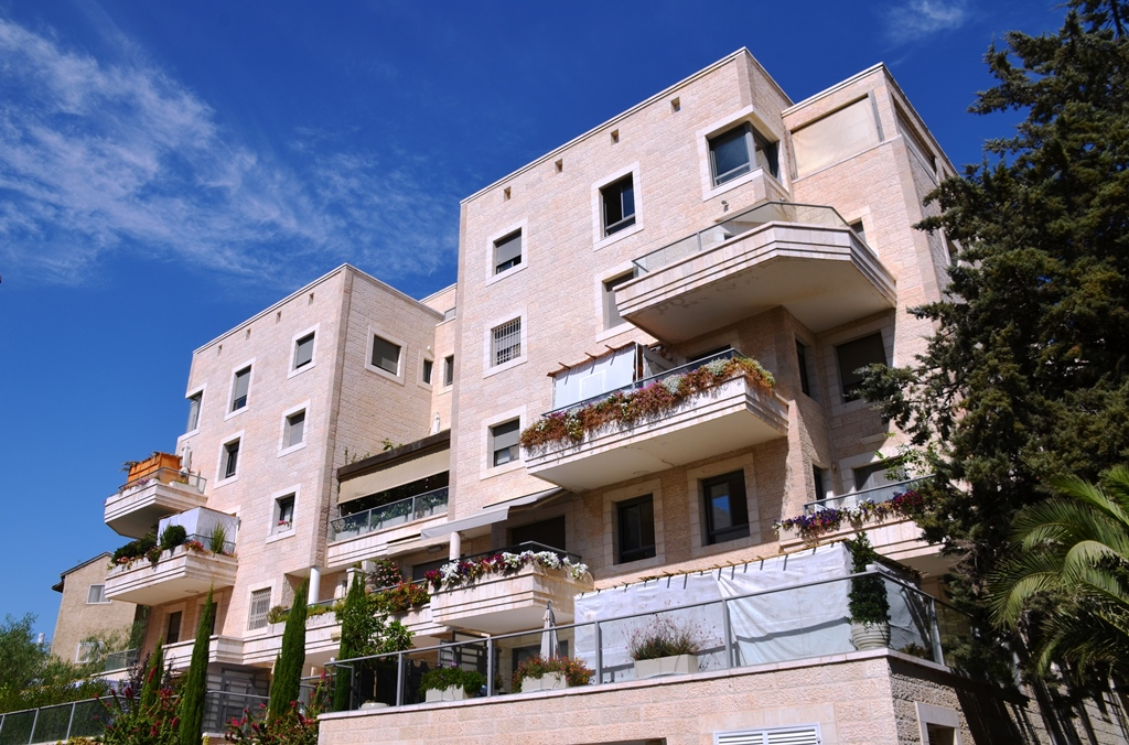 Building with many succahs on porches Jerusalem Israel