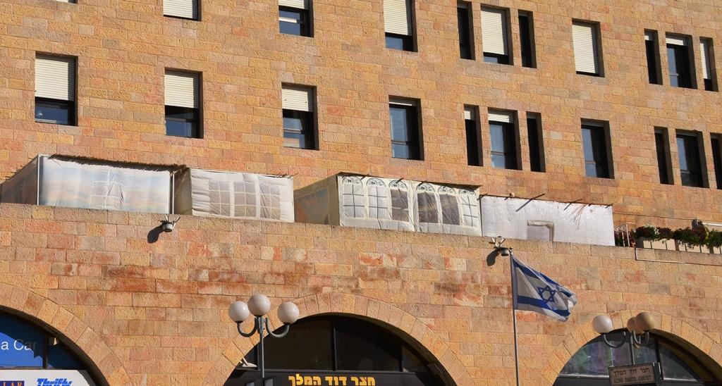 sukka on balcony King David Street Jerusalem Israel