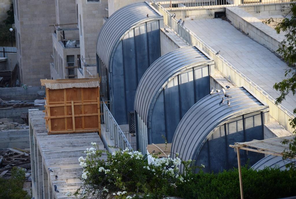Wood sukka on roof Jerusalem Israel